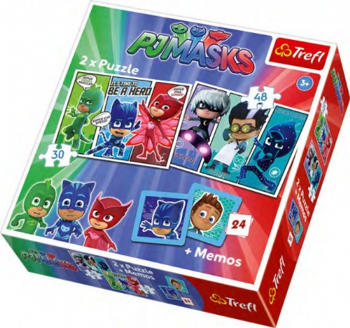 New Trefl Kids PJ Masks 2 in 1 Jigsaw Puzzle Set With Memo Card Game